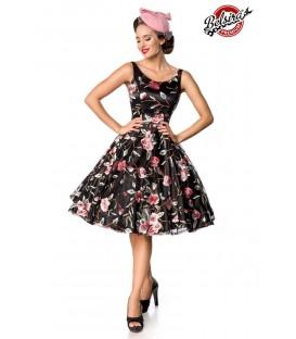 Retro Blumenkleid schwarz/rosa - AT50176 - Bild 1