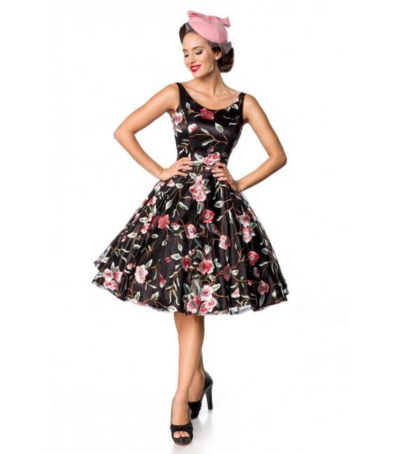 Retro Blumenkleid schwarz/rosa - AT50176 - Bild 2