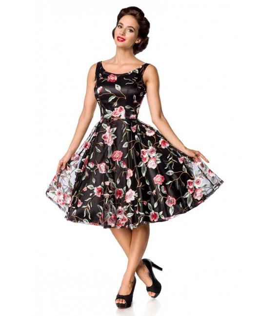 Retro Blumenkleid schwarz/rosa - AT50176 - Bild 3