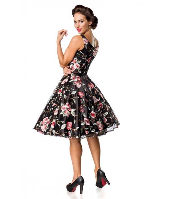 Retro Blumenkleid schwarz/rosa - AT50176 - Bild 4
