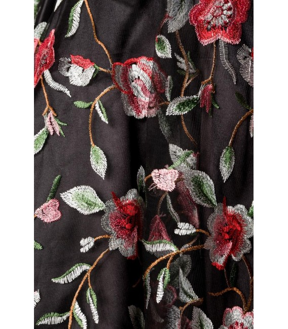 Retro Blumenkleid schwarz/rosa - AT50176 - Bild 5