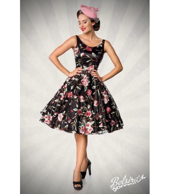 Retro Blumenkleid schwarz/rosa - AT50176 - Bild 7
