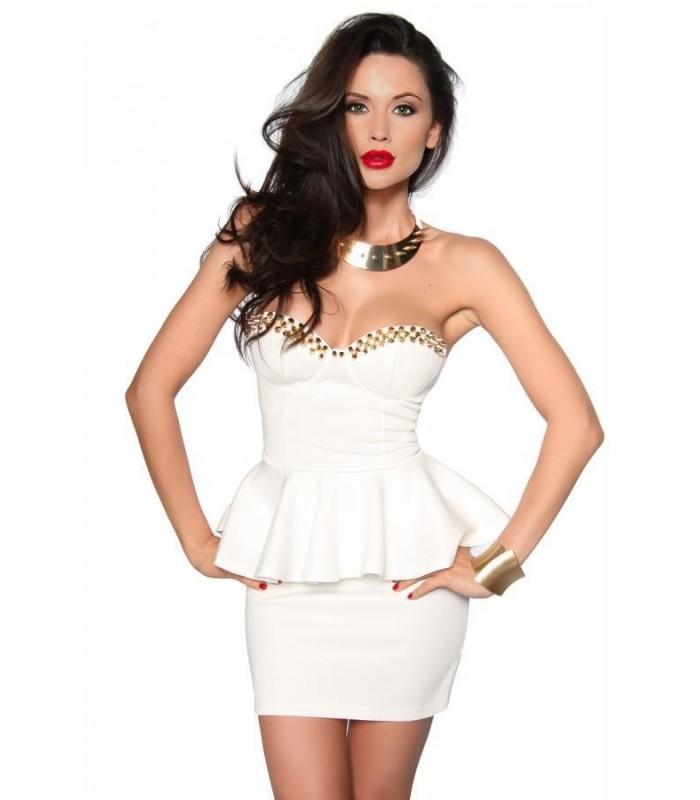 Vintage-Kleid mit Spikes weiß/gold - AT12855 - FashionMoon