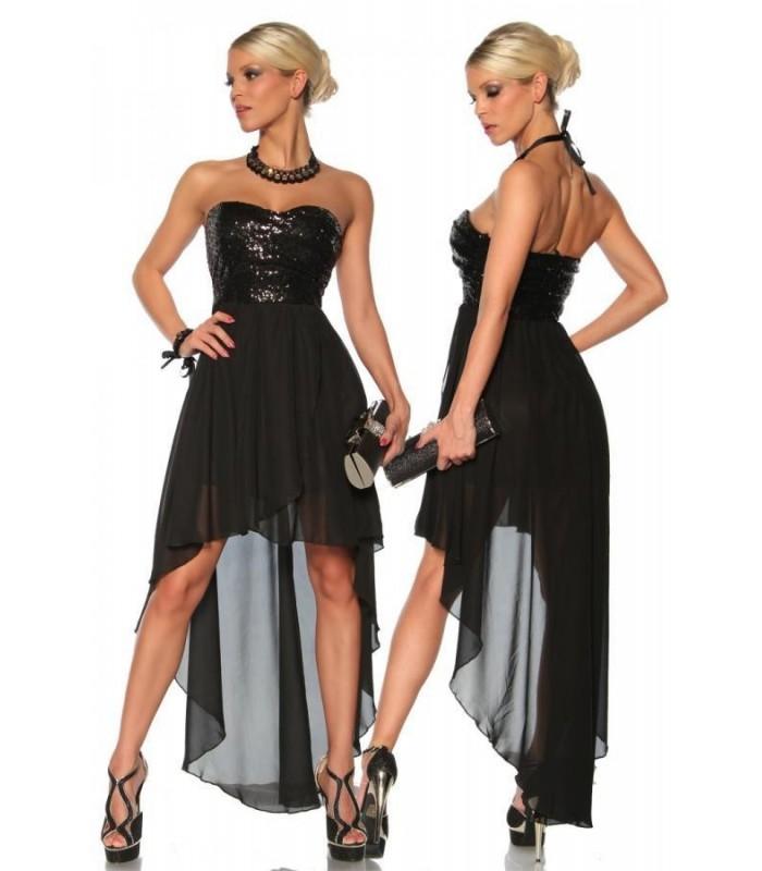 Abendkleid mit Pailletten schwarz - AT13124 - FashionMoon