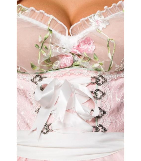 Großbild Mini-Brokat-Dirndl inkl Spitzenbluse rosa - AT70051 - Bild 4