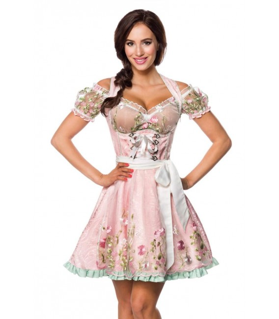 Großbild Mini-Brokat-Dirndl inkl Spitzenbluse rosa - AT70051 - Bild 6