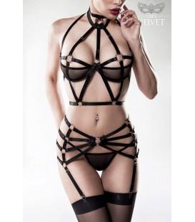 3-teiliges Harness Set von Grey Velvet schwarz - Bild 1