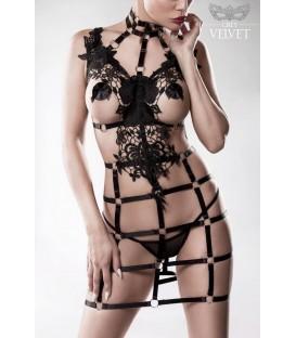 2-teiliges Harness Set von Grey Velvet schwarz - Bild 1