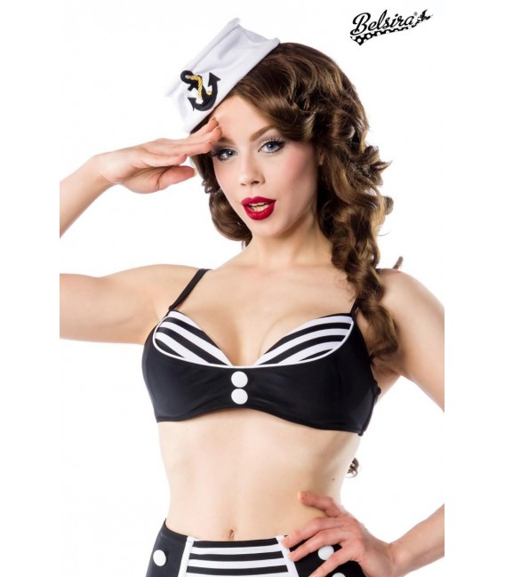 Vintage-Bikinioberteil schwarz/weiß - Bild 1 Großbild