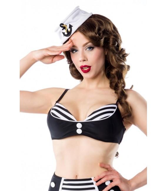 Vintage-Bikinioberteil schwarz/weiß - Bild 2 Großbild