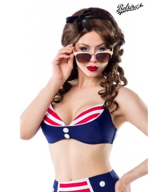 Großbild Vintage-Bikinioberteil blau/rot/weiß - Bild 1