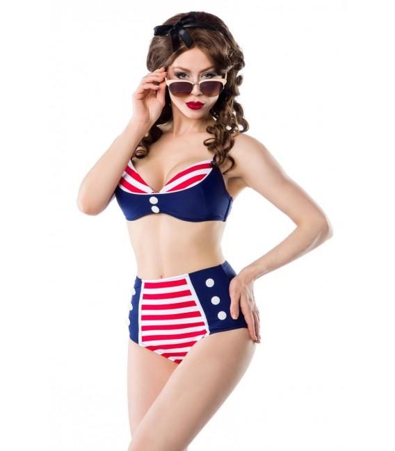 Großbild Vintage-Bikinioberteil blau/rot/weiß - Bild 5