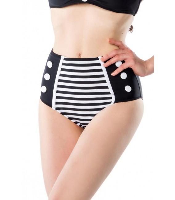 Großbild Vintage-Bikinihöschen schwarz/weiß - Bild 2