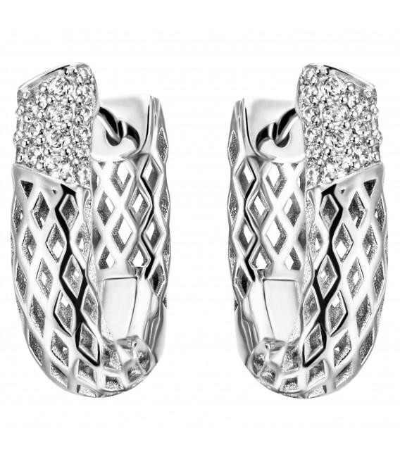 Creolen 925 Sterling Silber 32 Zirkonia Ohrringe Silbercreolen Silberohrringe - Bild 1
