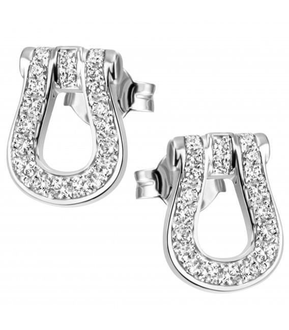 Ohrstecker 925 Sterling Silber 38 Zirkonia Ohrringe Silberohrringe - Bild 1
