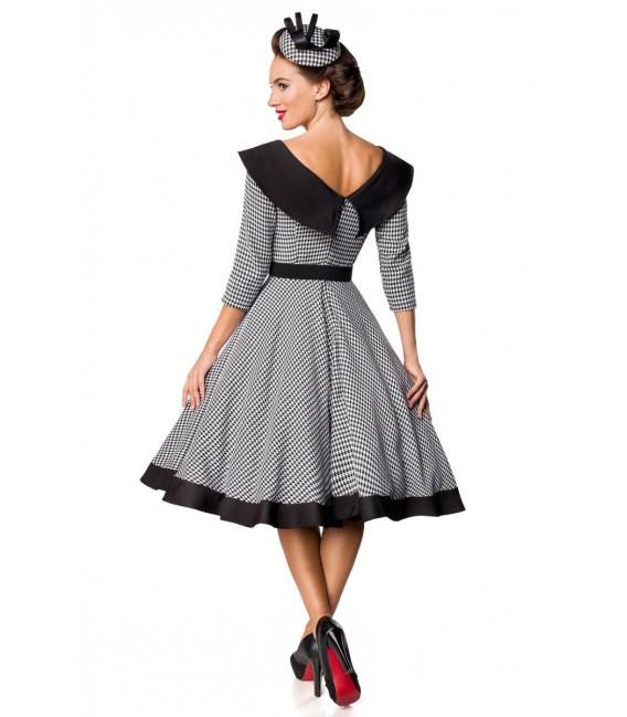 premium vintage swing-kleid schwarz/weiß - at50180