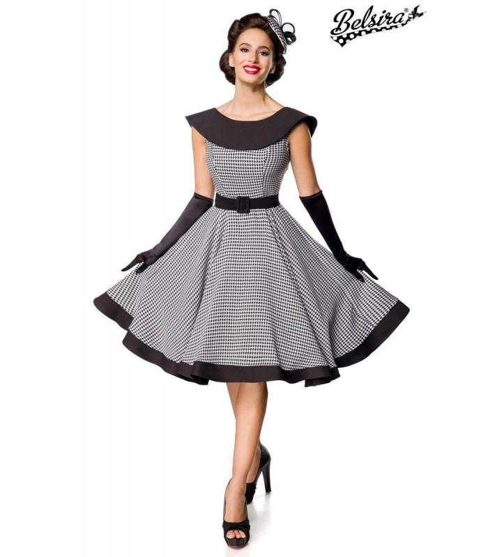 premium vintage swing-kleid schwarz/weiß - at50181