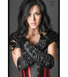 Schwarze Strass-Handschuhe CR3221