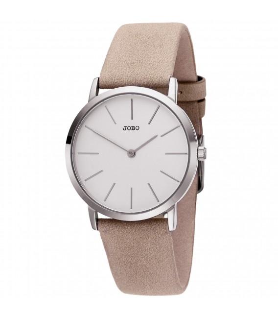 JOBO Damen Armbanduhr Quarz Analog Edelstahl Lederband taupe - Bild 1 Großbild
