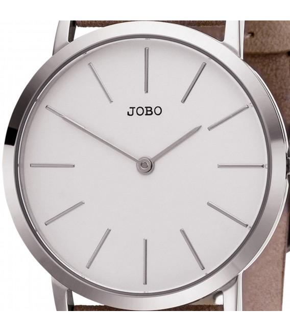 JOBO Damen Armbanduhr Quarz Analog Edelstahl Lederband taupe - Bild 2 Großbild