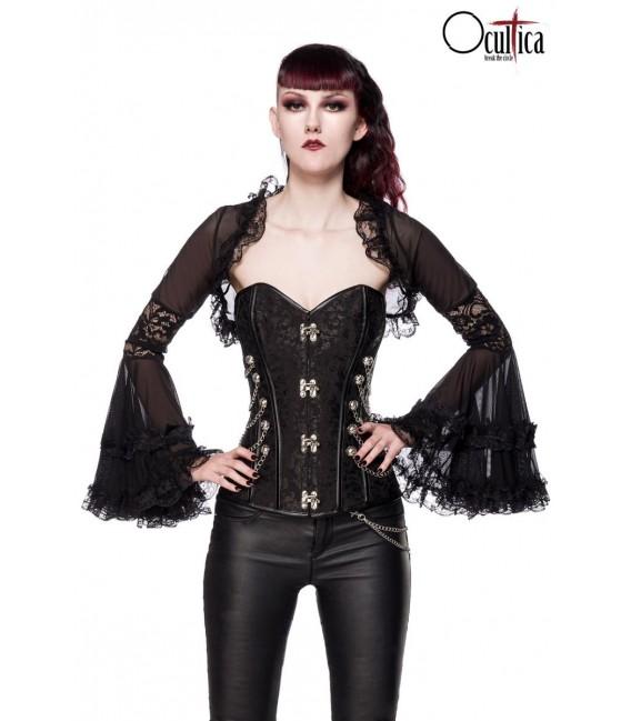Gothic-Bolero mit Spitze schwarz - AT90009 - Bild 1 Großbild