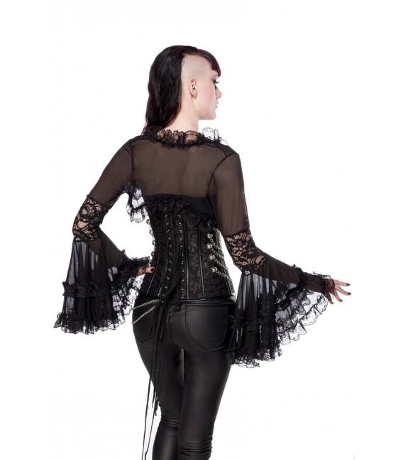 Gothic-Bolero mit Spitze schwarz - AT90009 - Bild 2 Großbild