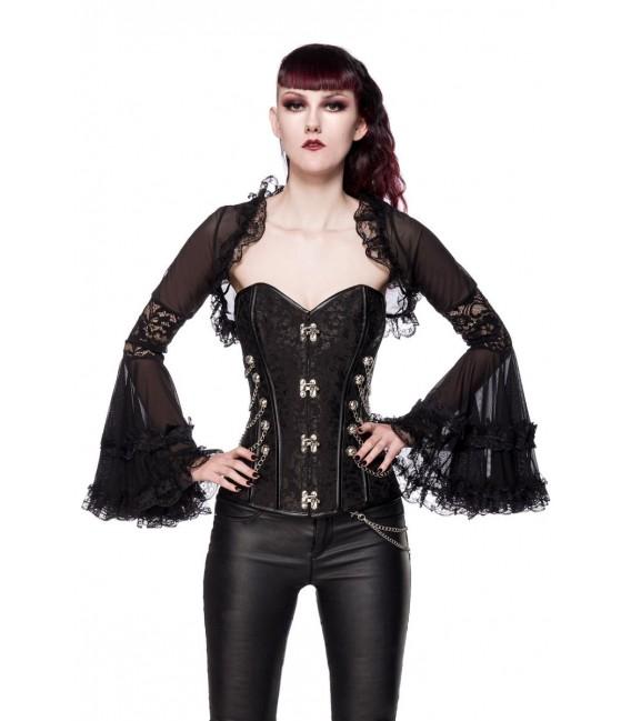 Gothic-Bolero mit Spitze schwarz - AT90009 - Bild 4 Großbild