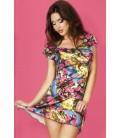 Kleid CR3682 blau/gelb